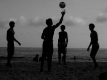 Playing at the beach. Ipanema Beach - Rio de Janeiro - Brazil stock photography