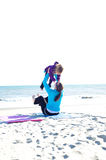 Playing at beach. Mother and baby playing at the beach Stock Photography