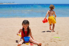 Playing on the beach Royalty Free Stock Photography