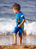 Playing on the beach. My son is ready to swim Royalty Free Stock Photos