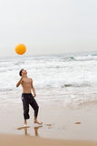 Playing beach ball Stock Images