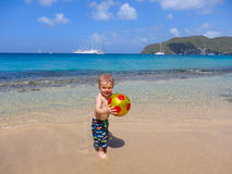 Playing on a beach in the caribbean Stock Images