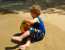 Playing on a beach in the caribbean Royalty Free Stock Image