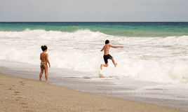 Playing on beach. Pelion, Greece Royalty Free Stock Photography