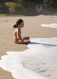 Playing on beach. Pelion, Greece Royalty Free Stock Photos