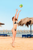 Playing beach volleyball Royalty Free Stock Images