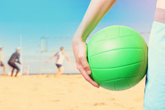 Playing beach volleyball royalty free stock photos
