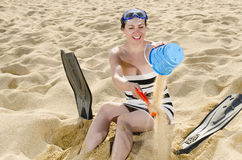 Playing on Beach Stock Images