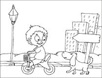 Playing bike coloring page Royalty Free Stock Photo