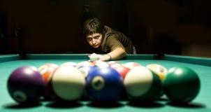 Playing billiard stock photos