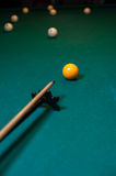 Playing billiard background, cue with snooker ball. Playing billiard background - cue with white snooker balls on green table Stock Photography