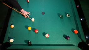 Billiard balls on the green table. Ball, indoors. stock video