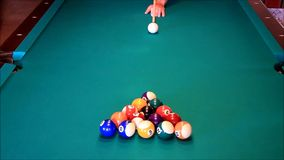 Playing with billiard balls stock video