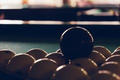 Billiard Pool Table with balls. Playing billiard. Billiards balls green billiards table. Billiard sport concept. Pool billiard game Stock Image