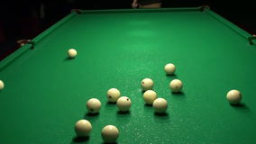 Playing Billiards (Pool Breaking Shot HD) stock video footage