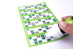 Playing Bingo on a green sheet Stock Photos