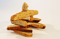 Playing with Biscotti. Homemade walnut biscotti in the shape of an Inukshuk Royalty Free Stock Images