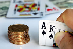 Playing blackjack on the gambling table Stock Images