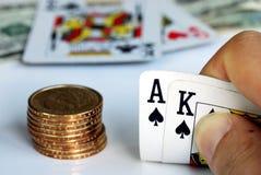 Playing blackjack on the gambling table. Play blackjack on the gambling table Stock Images