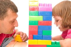 Playing with blocks Royalty Free Stock Image