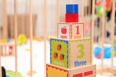 Playing blocks. A close-up image of a block box toy royalty free illustration