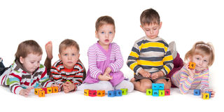 Playing blocks with friends Royalty Free Stock Photography