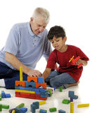 Playing Blocks with Grandpa Royalty Free Stock Image