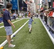Playing Bocce in Times Square stock photos