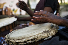Playing Bongos. A couple playing the drums at the international festival in Tokyo,  Japan Stock Photography