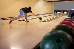 Playing bowling Royalty Free Stock Image