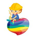 Playing Boy. Boy sitting on colourful splodge with string Royalty Free Stock Photo