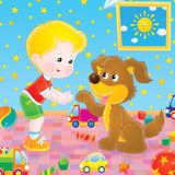 Playing boy and dog Royalty Free Stock Photo