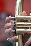 Playing Brass wind instrument Stock Photo