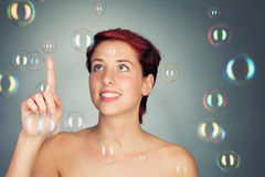 Playing with bubbles Stock Photography