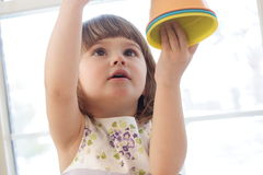 Playing with buckets Royalty Free Stock Photos