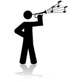 Playing a bugle. Icon illustration showing a man playing a bugle Royalty Free Stock Photo