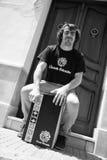 Playing cajon on the street Royalty Free Stock Image