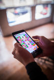 Playing Candy Crush Saga game Stock Images