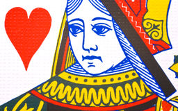 Playing Card. Queen of hearts playing card captured very closeup stock photo