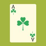 Playing card ACE with a green Shamrock Patrick day. Playing card ACE with a green Shamrock Patricks day badge symbol of gambling royalty free illustration