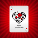 Playing card ace of hearts on background Stock Photography