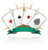 Playing card aces with text banner Stock Image