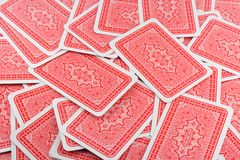 Playing card back. Texture scattered cards of background cards Royalty Free Stock Photos