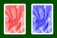 Playing Card Back. Designs - Abstract wave lines pattern - red and blue vector vector illustration