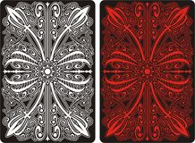 Playing card back side with ornament pattern Royalty Free Stock Images