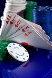 Playing  card  and chips Royalty Free Stock Photos