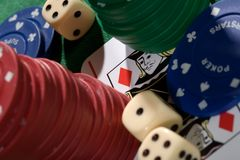 Playing Card Chips And Dice Stock Photos