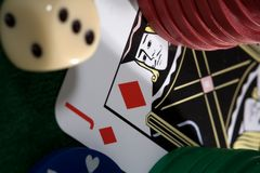 Playing card chips  and dice Royalty Free Stock Photo