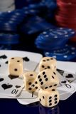 Playing  card  chips, and dice Royalty Free Stock Image