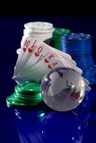 Playing  card  chips, dice, and globe Stock Image
